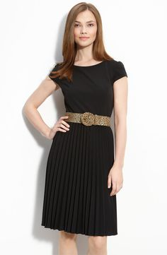 Classic black dress with a special belt  - business look