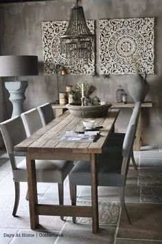 75 Vintage Dining Table Design Ideas DIY – Best Home Decorating Ideas Dining Room Walls, Dining Room Furniture, Living Room, Esstisch Design, Style Deco, Interior Decorating, Interior Design, Room Interior, Dining Table Design