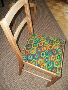 Crochet hexagon chair covers :)