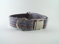 Confetti Tweed (White/multicoloured) dog collar with silver buckle. Skyefrog designs.