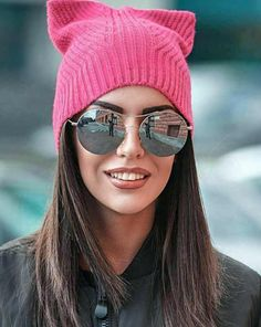Pink SPRING knit hat, pussyhat, pussy hat, pink pussyhat, cat hat, cat ear hat, cat ears hat, gift for her, chunky hat, resistance hat