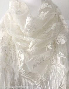 Vintage lace style triangle scarf in ivory cream great quality with lovely floral detail and a long tassel trim Measurements approx 65 inch 162 cm in Vintage Lace, Vintage Style, Cat Scarf, Prom Accessories, Triangle Scarf, Floral Scarf, Floral Wedding, Tassels, Vintage Fashion
