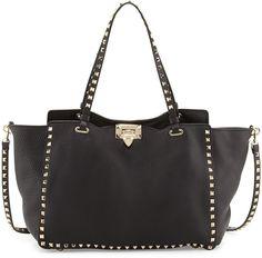 Valentino Rockstud Pebbled Tote Bag, Black on shopstyle.com