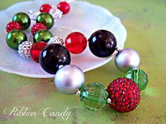 Christmas Chunky Necklace for Girls  by ribboncandyhairbows, $24.00