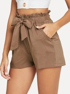 Shop Self Belted Ruffle Waist Shorts online. SheIn offers Self Belted Ruffle Waist Shorts & more to fit your fashionable needs. Short Outfits, Short Dresses, Summer Outfits, Cute Outfits, Stylish Outfits, Fashion News, Fashion Outfits, Fashion Women, Type Of Pants
