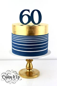 1 tier 60th Birthday cake featuring navy horizontal and 24k edible gold leaf. www.facebook.com/cakingitup
