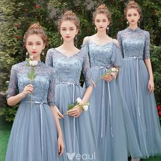 Affordable Sky Blue See-through Bridesmaid Dresses 2019 A-Line Princess 1 2 Sleeves Sash Appliques Lace Floor-Length Long Ruffle Wedding Party Dresses Bridesmaid Dresses With Sleeves, Bridesmaid Dress Colors, Lace Bridesmaids, Wedding Bridesmaid Dresses, Wedding Party Dresses, Dress Party, Burgundy Bridesmaid, Bridesmaid Ideas, Lace Wedding Dress