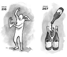 Drawing of a man putting on an extra arm, and an invisible wine bottle created by the negative space of two other wine bottles.