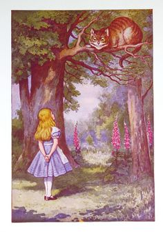 vintage alice in wonderland illustrations | Vintage Alice in Wonderland Print, Cheshire Cat, 1970's Book Plate ...