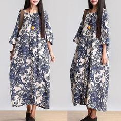 Long Dress with Blue Flower Fantasy