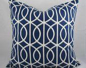 Decorative Pillow Cushion Cover - Accent Pillow - Throw Pillow - Dwell - Gate Twilight, Trellis, Blue White - 18 x 18 Inch