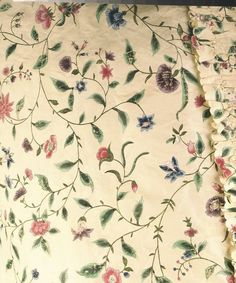 Detail fabric, robe à la Francaise (sack back gown), London and China (silk), 1760-1765. Cream painted Chinese silk with floral motifs.