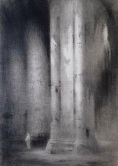 Michel FRECHON (1892-1974) - Intérieur de la cathédrale de Chartres - Fusain - 102 x 72 cm