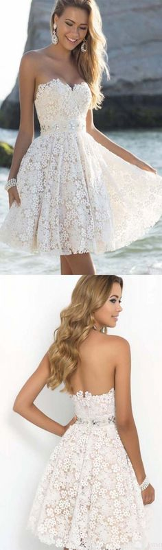 A-Line Sweetheart Beading Short White Lace Homecoming Dress @veenrol