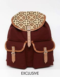 Reclaimed Vintage Leather Trim Backpack With Tapestry