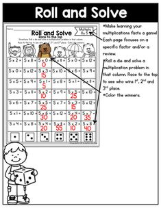 Multiplication: Roll and Solve Multiplication Facts, Periodic Table, Math, Learning, Periodic Table Chart, Periotic Table, Math Resources, Studying, Teaching