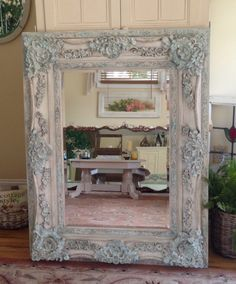 mirror 48 x 36. sold***large vintage ornate gesso leaning beveled mirror~french country~shabby mirror 48 x 36