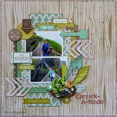 "All About Scrapbooks Australia: Echo Park ""Capture Life"" & Kaisercraft ""Bow & Arrow"" - by Linda Eggleton Travel Scrapbook Pages, Scrapbook Blog, 12x12 Scrapbook, Scrapbook Sketches, Scrapbook Page Layouts, Scrapbook Paper Crafts, Scrapbook Designs, Photo Layouts, Origami"