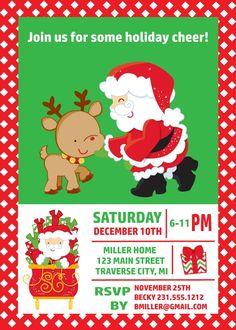 Reindeer Santa Christmas Invitation   Holiday Party Invites