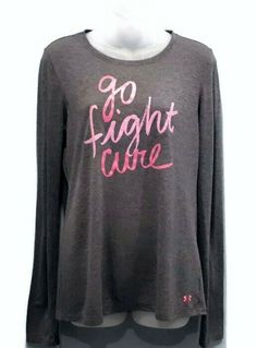 Under Armour Top Womens Medium Gray Pink Go Fight Cure Semi Fitted Long Sleeve Under Armour, The Cure, Active Wear, Breast, Graphic Sweatshirt, Medium, Sweatshirts, Long Sleeve, Fitness