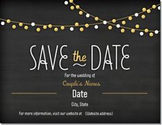 """Why You'll Love Black Bistro Lights Horizontal Flat Save the Date Cards - 5.5""""x4"""""""