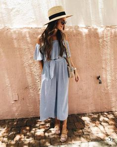 e3bf58bcdf10  178 Ezra Off-The-Shoulder Light Blue Jumpsuit Teamed With Leather Flat  Sandals And