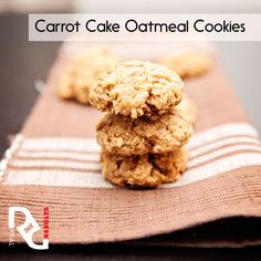 Erin's Carrot Cake Oatmeal Cookies 1 c instant oats  ¾ c whole wheat flour  1 ½ tsp. baking powder 1 ½ tsp. ground cinnamon 1/8 tsp. salt 2 TB coconut oil or unsalted butter, melted and cooled slightly 1 large egg, room temperature 1 tsp. vanilla extract ½ c maple syrup ¾ c grated carrots   Full instructions on http://www.realresults-inc.com
