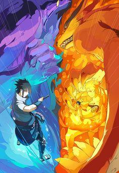 Sasuke's Susanoo and Naruto with Kurama