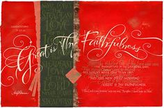 Red and green print with scripture from Lamentations. Great is Thy Faithfulness the steadfast love of the Lord never ceases. In various sizes, framed. Scripture Art, Bible Art, Bible Verses, Lamentations 3 22 24, Chalkboard Writing, Artist Bio, Calligraphy Letters, Mark Making, Mail Art