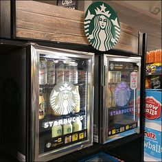 On a difficult day, you just might need more than a single coffee. Hence this Starbucks Double Grab-And-Go Coolers concept. Retail Fixtures, Store Fixtures, Starbucks, Go Store, Fruit Shoot, Cool Doors, Double Barrel, Money Cards, Coolers