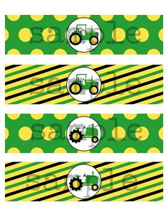 INSTANT Tractor Theme Water Labels Printable by TwoLaughingLambs, $2.50