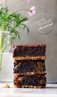 "Caramel Brownies with Pretzel Crust ~ via this blog, ""Milk and Honey""."