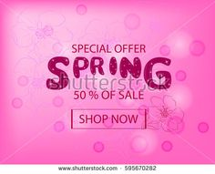 Spring Sale Background with  hand drawn floral background. Vector Illustration. Template for Banner, Poster, Brochure, Voucher discount.