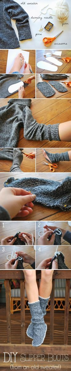 Simple DIY Slippers Trick With Tutorial Using Old Sweater Alter Pullover, Pullover Outfit, Sewing Hacks, Sewing Crafts, Sewing Projects, Diy Projects, Diy Crafts, Sewing Tutorials, Sewing Ideas
