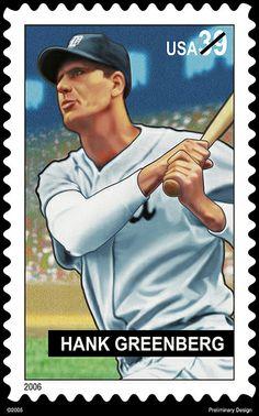 Hank Greenberg USPS stamp art preliminary design #Baseball #BaseballArt #Vintage