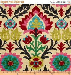 SHIPS SAME DAY Waverly Santa Maria Desert Flower Home Decor Damask Fabric Drapery in Pink, Turquoise, Red, Black - by the yard from FabricSupplyCo on Etsy Studio