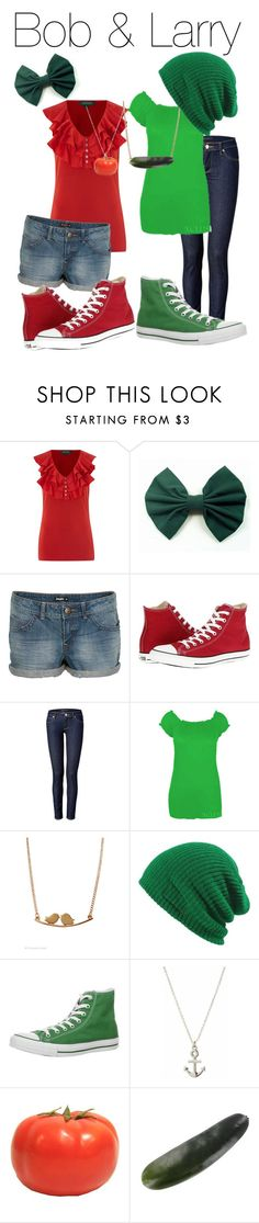 """""""Veggie Tales"""" by totallytrue ❤ liked on Polyvore featuring Lauren Ralph Lauren, bleu, Converse, Juicy Couture and veggie tales bob the tomato larry cucumber disneybound"""