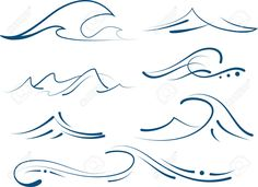 Set Of Different Simple Stylized Pinstripe Ocean Waves Royalty ...