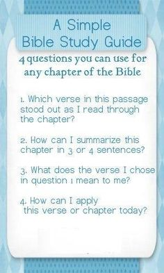 "Here is ""A Simple Bible Study Guide"" bookmark with 4 questions you can use for any chapter of the Bible. - for anyone who wants to add to the daily Bible reading challenge. You could choose a small section and answer the questions each day. ༻༻What a wonderful world ww.jw.org !༺༺"