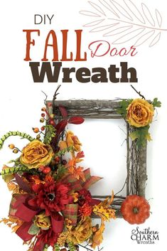 In this video, learn to make a DIY Fall Door Wreath using a square wreath made from twigs, silk flowers and ribbon by Southern Charm Wreaths Diy Fall Wreath, Fall Wreaths, Door Wreaths, Wreath Ideas, Grapevine Wreath, Burlap Wreath, Square Wreath, Cute Dorm Rooms, Fall Door