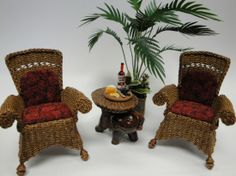 Wicker Chair Set with Elephant Table