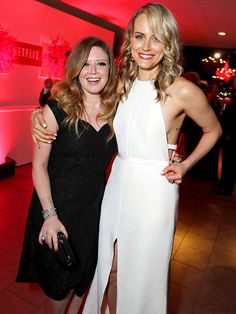 What, no orange? Orange Is the New Black costars Natasha Lyonne and Taylor Schilling posed for a picture together, looking beautiful in black and white dresses.