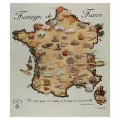 Cheese map of France Fromage Cheese, Queso Cheese, Meat And Cheese, Wine Cheese, Pray For France, Fondue, French Cheese, France Map, French Restaurants