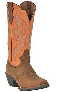 Justin Stampede Collection Ladies Brown w/ Orange Top Punchy Toe Western Boot