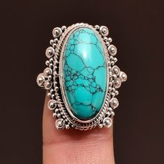 925 Sterling Silver Jewelry Tibetan Turquoise Gemstone Ring Size us 7.5 #Unbranded #Ring #valentinesday  #SilverJewelry