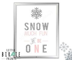 Items similar to WINTER ONEDERLAND Silver and Pink Decorations Sign Snow much fun to be one Party Sign - Silver and Pink winter onederland printables on Etsy Happy Birthday Name, 1st Birthday Girls, First Birthday Parties, Birthday Ideas, Girl First Birthday Party Ideas Winter, Winter Birthday, Birthday Cake, Snow Much Fun, Snow Fun