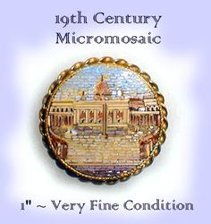 Image Copyright by RC Larner ~ Late 19th C.Micromosaic Glass Button ~ R C Larner Buttons at eBay & Etsy         http://stores.ebay.com/RC-LARNER-BUTTONS