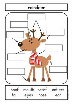 Math & Literacy Centers - Christmas {147 pages}. A page from the unit: Label It! (Includes plain backgrounds as well as colored).