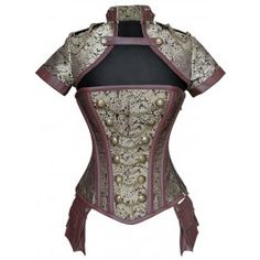 ND-185 - Gold and Brown Military Inspired Corset with Pouch and Matching Jacket - STEAMPUNK