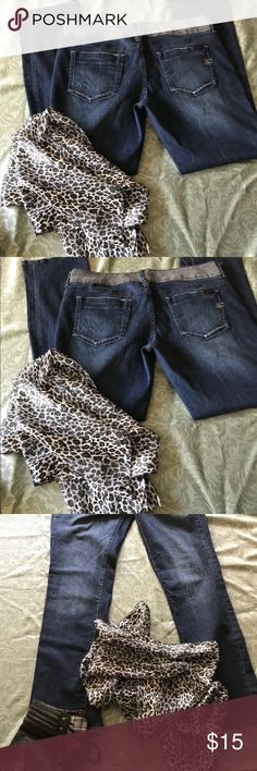 EUC Seven7 Jeans w/BONUS scarf! EUC Seven7 Jeans w/silver-trimmed waistband and pockets...cuuute!99% cotton, 1% spandex Buy the leans and get the cute scarf as a bonus! Seven7 Jeans Straight Leg